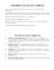 English Worksheet: radio commercial guide