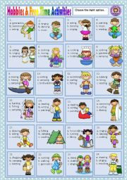 English Worksheets: HOBBIES & FREE TIME ACTIVITIES - MULTIPLE CHOICE