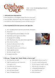 English Worksheet: A Christmas Carol Worksheet 1
