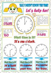 English Worksheet: Telling the time - Sally doesn�t know the time! - Let�s help her!