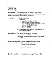 English Worksheets: Basic Research