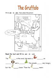 English Worksheet: The Gruffalo (worksheet about a picture book)