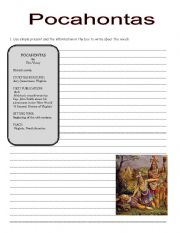 English Worksheet: pocahontas book ws