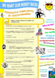 English Worksheets: Ridiculous Complaints by Holidaymakers (Vocabulary List+Gap-fill+Vocab Exercises w Solutions)