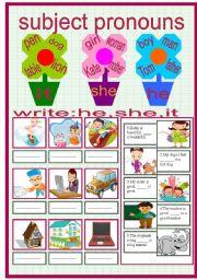 English Worksheet: subject pronouns-he/she/it