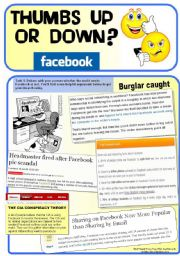 English Worksheet: Facebook: Thumbs Up or Down? (4 pages. Debate/Discussion+Vocab practice)