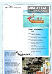English Worksheets: Lost at sea - A survival game