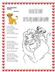 English Worksheet: The lion sleeps tonight - Lion King song