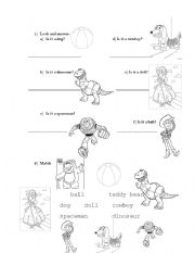 English Worksheets: Toy Story Worksheet