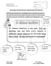 English Worksheets: writing a letter requesting information