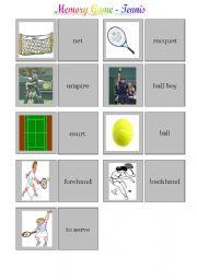 English Worksheet: Tennis - memory game