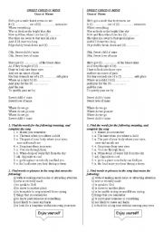 English Worksheet: Sweet child of mine Guns & Roses