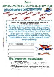 English Worksheet: EXTREME SPORTS, EXPRESSIONS: FOR SPEAKIN AND WRITING