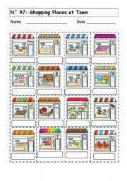 English Worksheet: WORKSHEET No 97:  SHOPPING PLACES AT TOWN