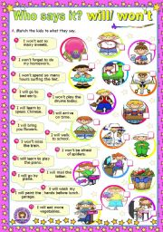 English Worksheet: Who says it? - Modal Verbs (3) - Will/ won�t