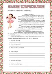 English Worksheets: READING COMPREHENSION - BORN TO DANCE