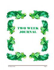 English Worksheets: Two week journal