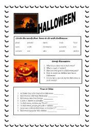 English Worksheet: The Halloween Story