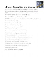 English Worksheets: Conversation crime corruption and justice
