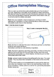 English Worksheet: Ice-breaker (teaching idea+instructions)