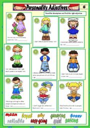 English Worksheet: PERSONALITY ADJECTIVES + KEY