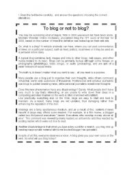 English Worksheets: To blog or not to blog?