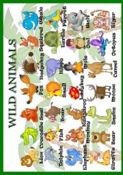 English Worksheet: Wild animals (pictionary)