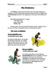 English Worksheet: The Prehistory