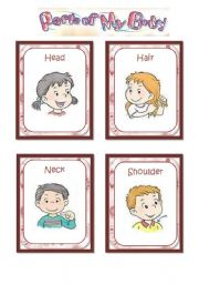 English Worksheet: Parts of the body - flashcards (1/2)