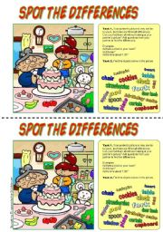 English Worksheet: Spot the differences. (Happy birthday!)
