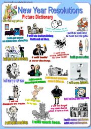 English Worksheet: New Year Resolutions. (Part 2/2). Picture Dictionary (Future Tense ´will´)