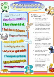 English Worksheet: Proverbs II. (Part 2/2) Match Proverbs with Definitions/Pictures (+Solutions)