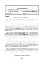 English Worksheet: End - of - term test N�2 4th form Arts
