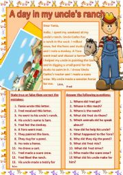 English Worksheets: A day in my uncle´s ranch