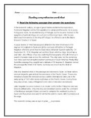 English Worksheets: Reading comprehension (key included)