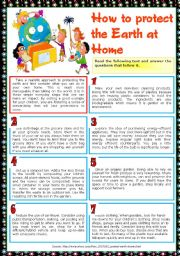 English Worksheet: How to protect the Earth at Home
