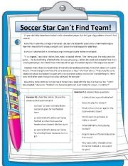 English Worksheet: sporty girl can�t play her favourite sport: football. WHY?