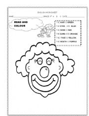 English Worksheets: A clown�s face