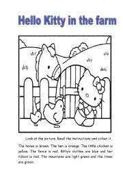 English Worksheet: Hello Kitty in the Farm to colour