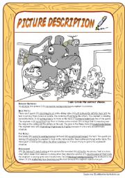 English Worksheet: Picture description: Elephant at dinner (with KEY)