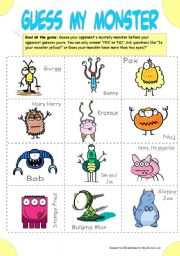 English Worksheet: Guess My Monster (Guess Who? with Monsters)