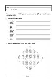 Tangled, the Movie ::: Worksheet # 1