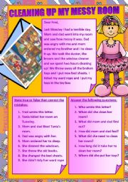 English Worksheet: CLEANING UP MY MESSY ROOM