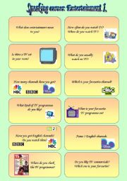 English Worksheet: Speaking: Entertainment 1.