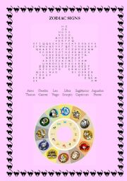 English Worksheet: Zodiac Signs Wordsearch