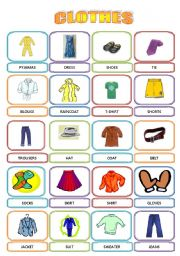 English Worksheet: CLOTHES - PICTIONARY
