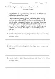 English Worksheets: Graded reading comprehension