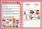 English Worksheets: Fishing is fun! � reading comprehension � contextualized grammar � vocabulary � easy for beginners � 2 pages � editable � 2 pages