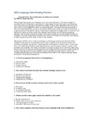 English Worksheets: Reading Comprehension for adult Literacy
