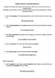 English Worksheets: Complex sentances